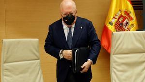 El excomisario José Manuel Villarejo comparece ante la comisión parlamentaria dedicada a la trama 'Kitchen'.