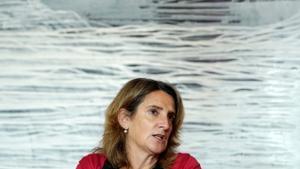 Teresa Ribera, vicepresidenta tercera y ministra para la Transición Ecológica, durante la entrevista.